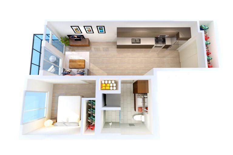 -Unit I 1  BED/1 BATH 544 Sq.ft.Sq.ft.
